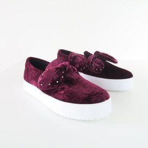 Rebecca Minkoff Stacey Stud Bow Velvet Sneakers